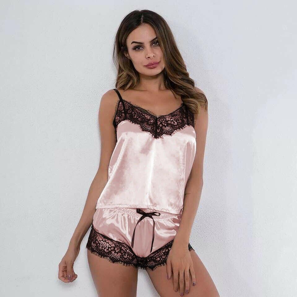 Silk Babydoll Lace Nightwear Pajamas Set For women - Shop women fashion clothing, Fragrances & skin, perfumes, shoes & accessories online !