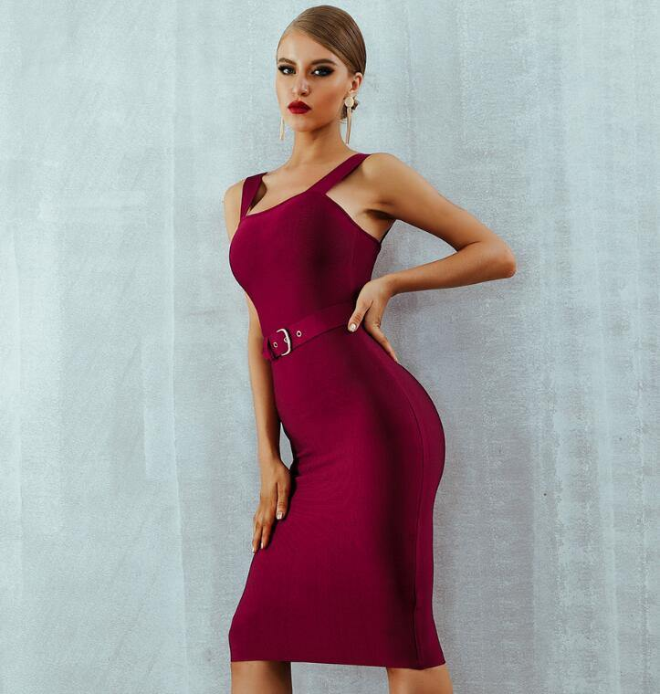 Spaghetti Strap Belt Midi Bodycon Dress for Women - Shop women fashion clothing, Fragrances & skin, perfumes, shoes & accessories online !