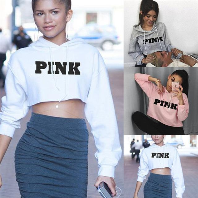 Sweatshirt Female Pink Cropped Top e Pullover - Shop women fashion clothing, Fragrances & skin, perfumes, shoes & accessories online !