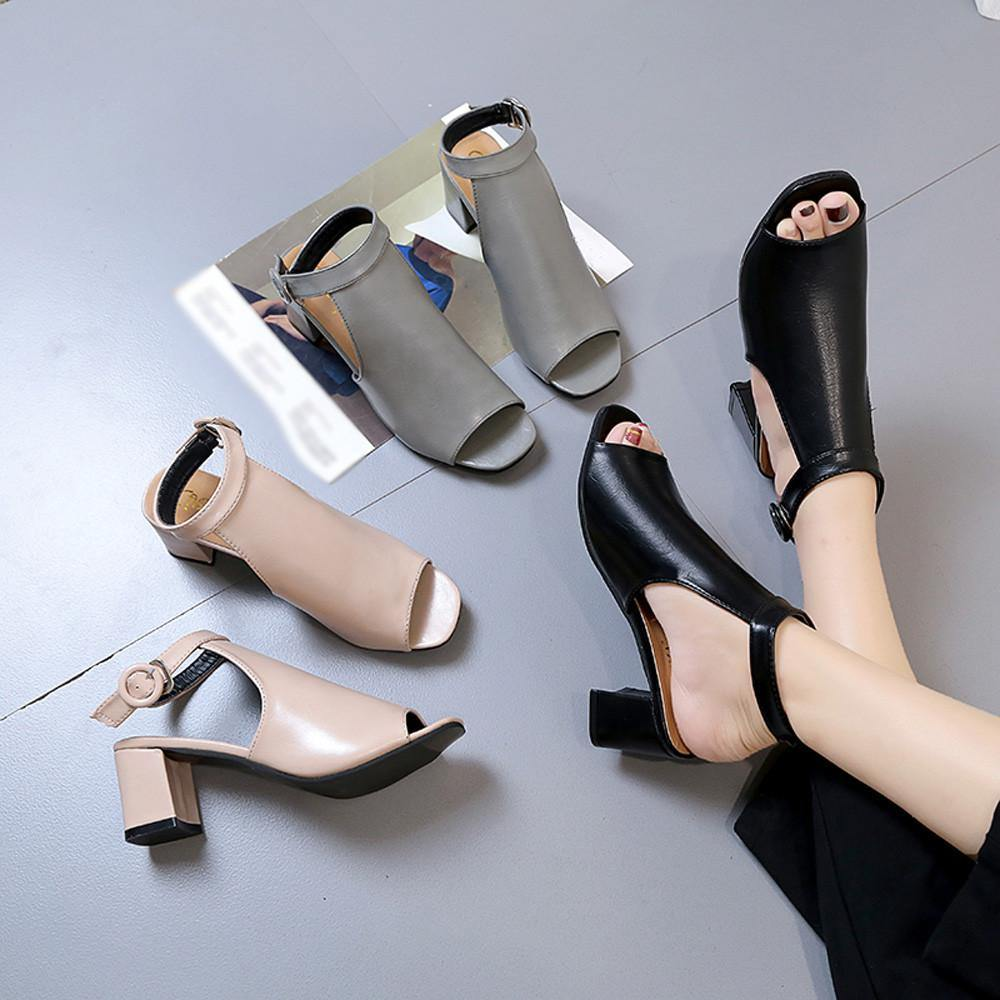 Thick Heel Fashion Hollow Toe Shoes  For women - Shop women fashion clothing, Fragrances & skin, perfumes, shoes & accessories online !