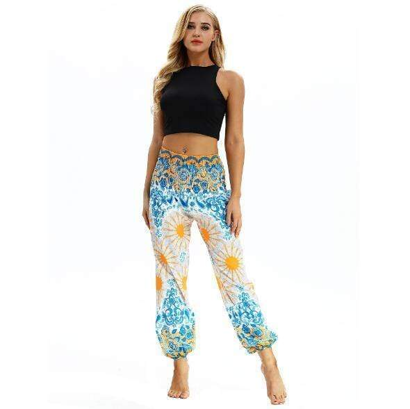 Tie-dye Flower Printed Straight Loose Yoga Pants - Shop women fashion clothing, Fragrances & skin, perfumes, shoes & accessories online !