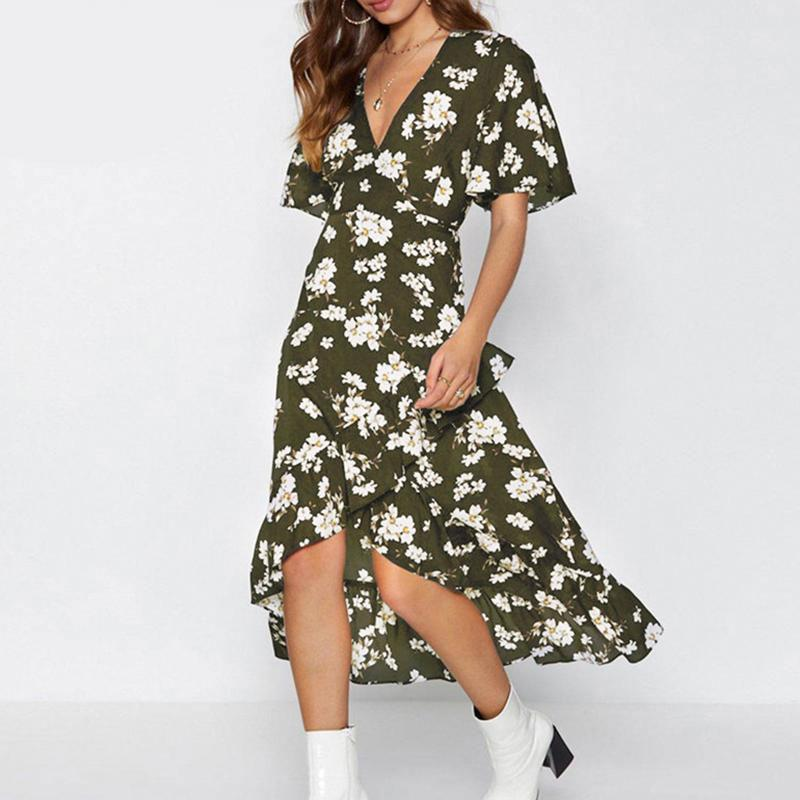 V neck bohemian floral print women sexy dress - Shop women fashion clothing, Fragrances & skin, perfumes, shoes & accessories online !