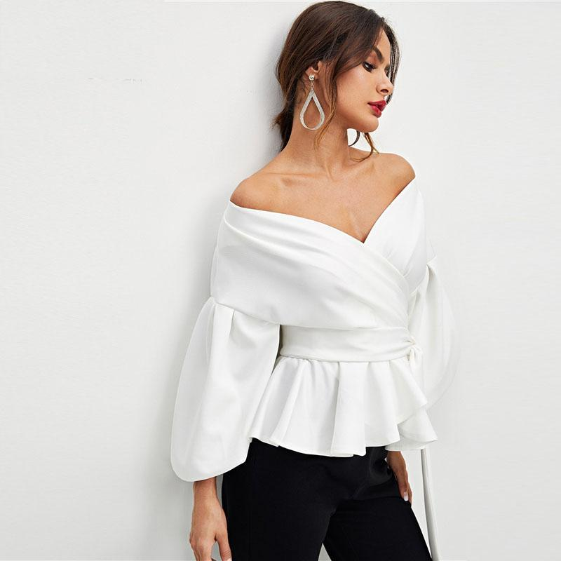 White Office Lady Elegant Lantern Sleeve Off Shoulder Solid Blouse - Shop women fashion clothing, Fragrances & skin, perfumes, shoes & accessories online !