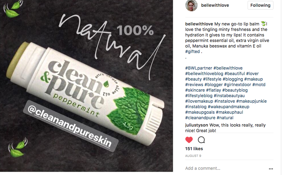 testimonial review Clean & Pure - Natural Lipbalm & Skincare Australian Made Cruelty Free