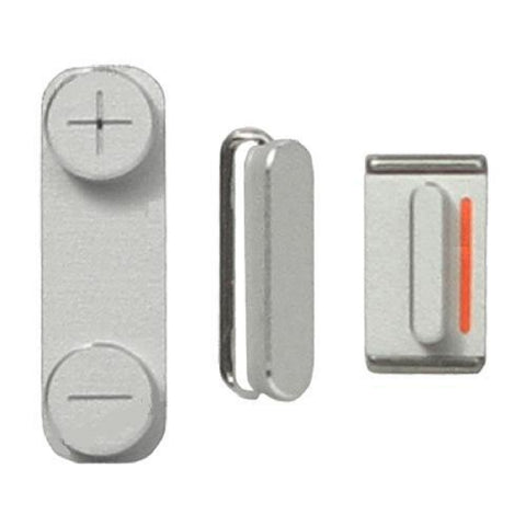 Silver Power Button - Volume Button - Mute Switch For iPhone 5 - FormyFone.com