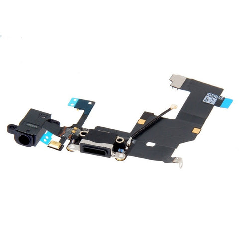 Black Dock Connector - Headphone Jack - Antenna Replacement for iPhone 5 - FormyFone.com