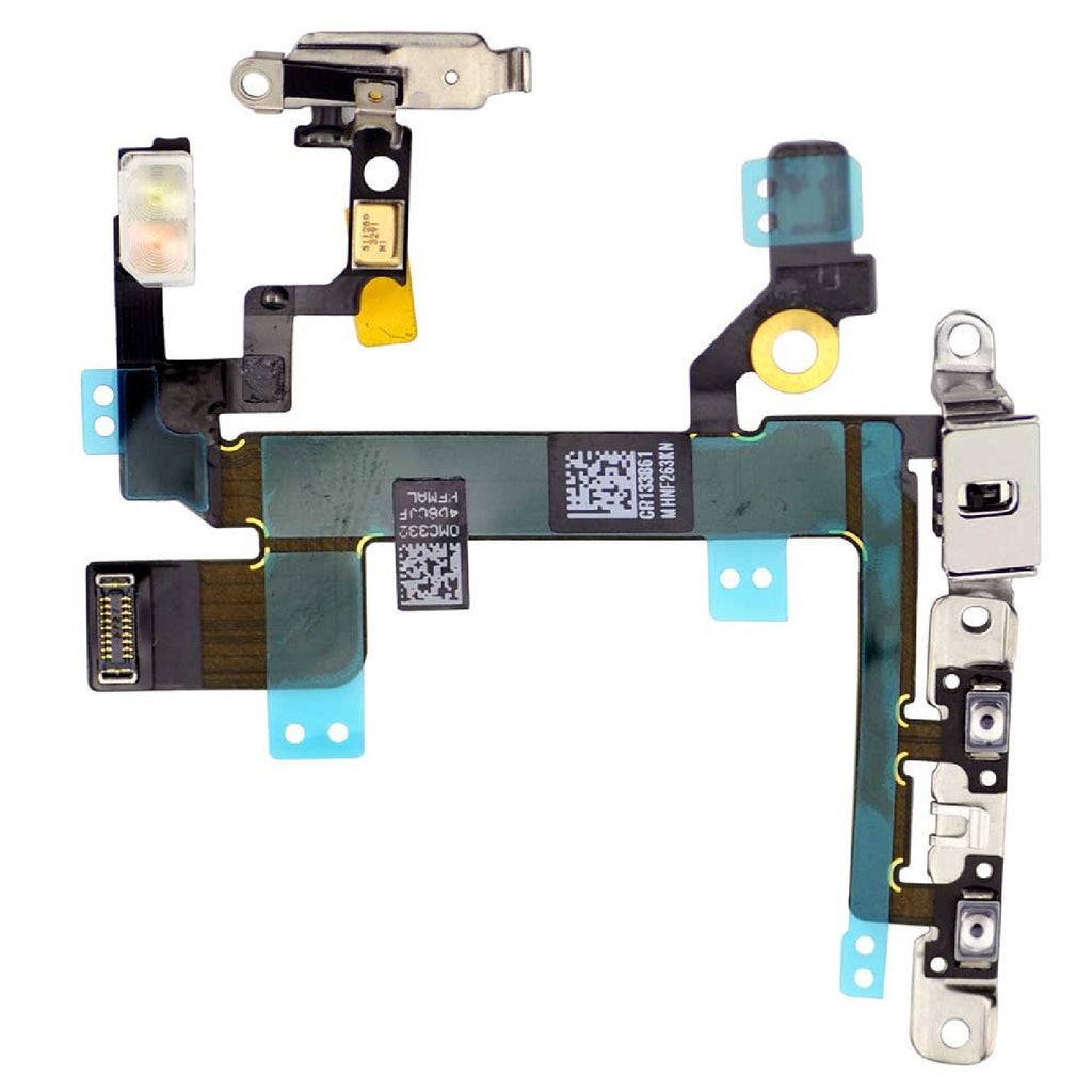 Replacement Power Button Flex Cable With Volume Buttons & Mute Switch With Brackets For iPhone 5S