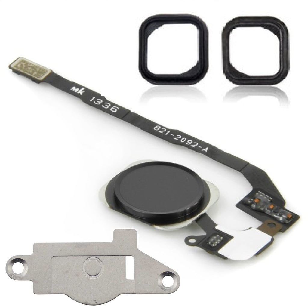For iPad 2 Black Home Button Menu Button Replacement Kit With Seal /& Bracket