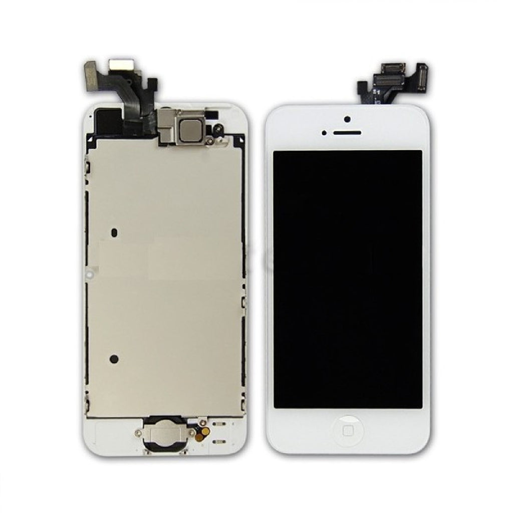 white iphone 5 front touch screen assembly LCD ear speaker front camera home button