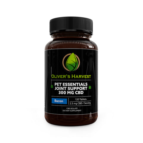 Pet Essentials CBD Joint Support Bacon Flavor 120 Tablets – 2.5mg/mL CBD