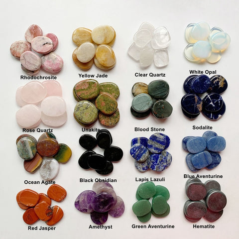 7 Chakra Stones Set Natural Crystals Palm Stones Flat Back Crystals Fengshui