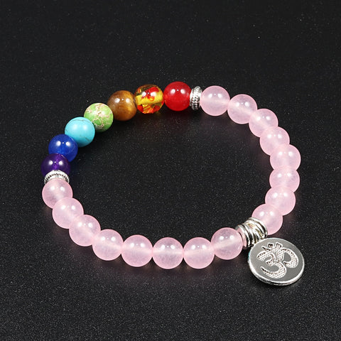 7 Charka Bracelet Healing Pedant Natural Stone Pink Quartz Beaded Men Women