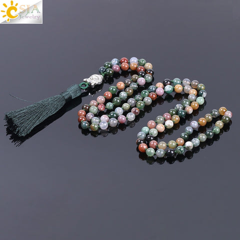 6mm Natural Indian Agates Onyx Beads Tassel Necklaces Stone 108 Beaded