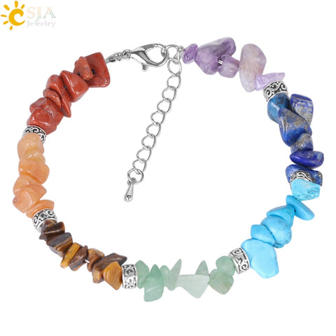 7 Chakra Reiki Women Bracelets Chain Link Lobster Clasp Natural Chip Stone Beads
