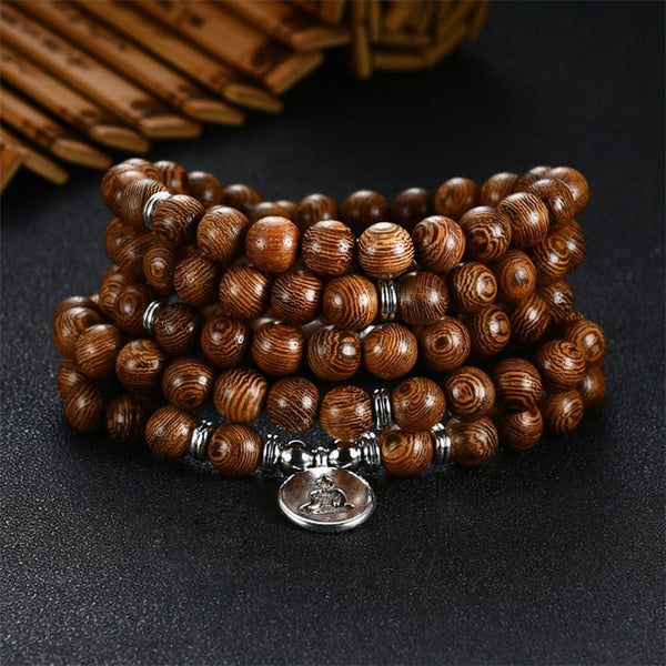 108 Multi-layer Beads Bracelet Wooden Rosary For Women/Men Jewelry