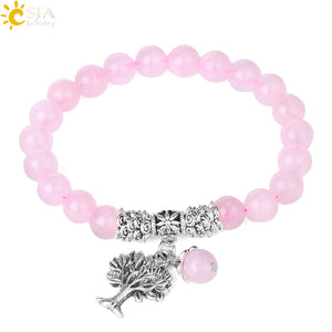 Pink Quartz Bracelet Natural Crystal Gem Stone Mala Beads Jewelry