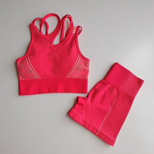 Yoga Set 2 Piece Suit Female Workout Clothes Medium Support Sports Bra+High Waist