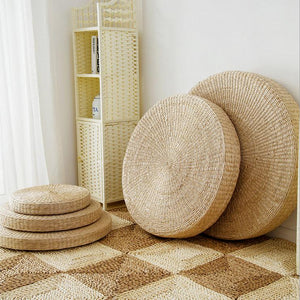5 Size Hot Natural Straw Round Pouf Tatami Cushion Floor Cushions 40/45/50/60/70cm