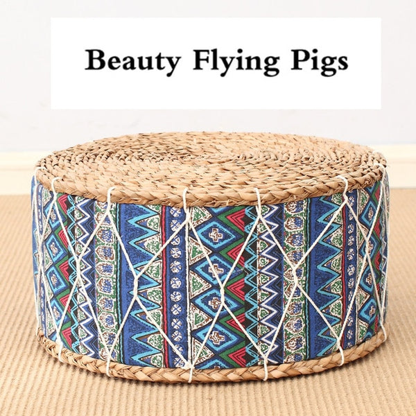 Meditation Stool Thick Straw Colorful Designs (FS)