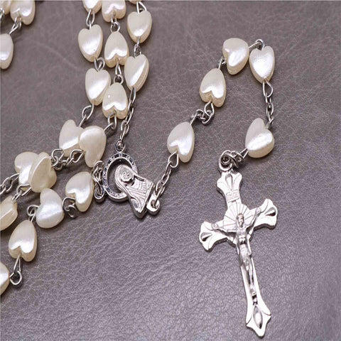Catholic Acrylic Heart-shaped Rosary Necklace, Cross and Long Chain,
