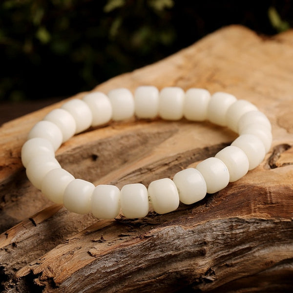 108*8mm/10mm Natural White Bodhi Root Beads Bracelet Lotus for Women