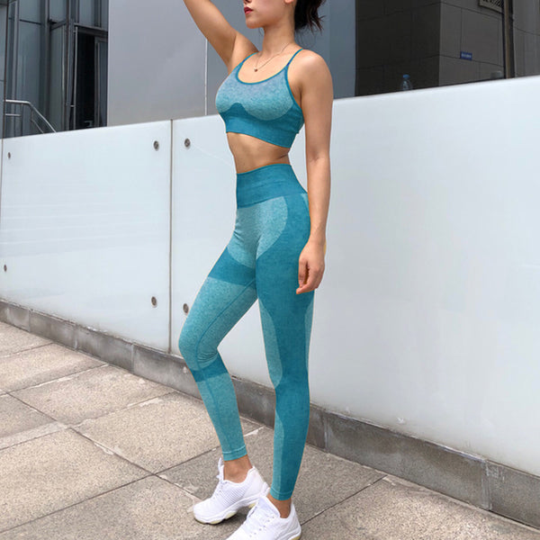 Yoga Set Sports Bra and Leggings  Seamless Workout Sports Tights Women
