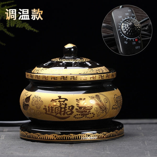 Buddha Zen Electric Incense Burner Dragon Ceramic (FS)