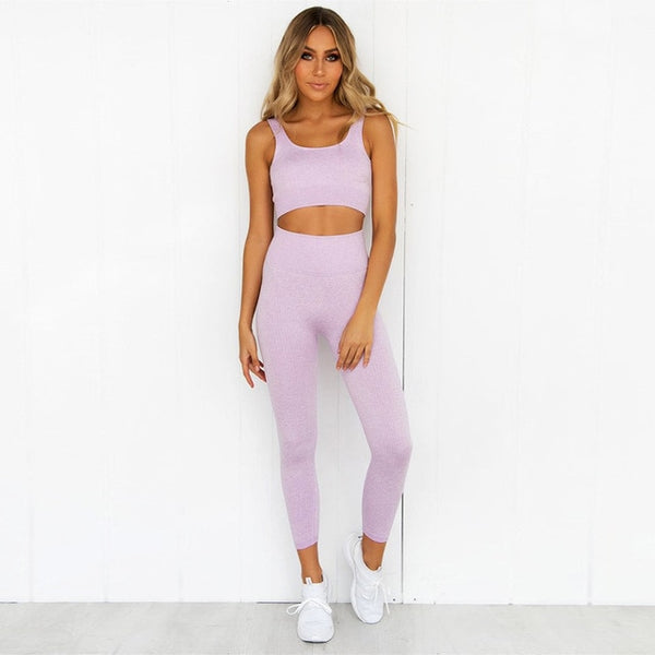 2 Piece Set Yoga Sports Bra and Leggings Workout Clothes for Women