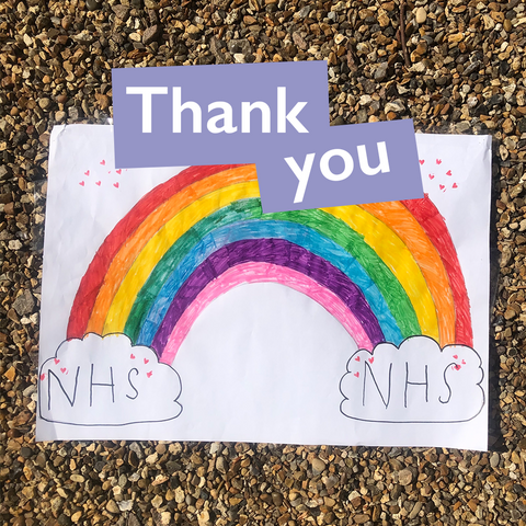 Thank you NHS A rainbow drawing by a child