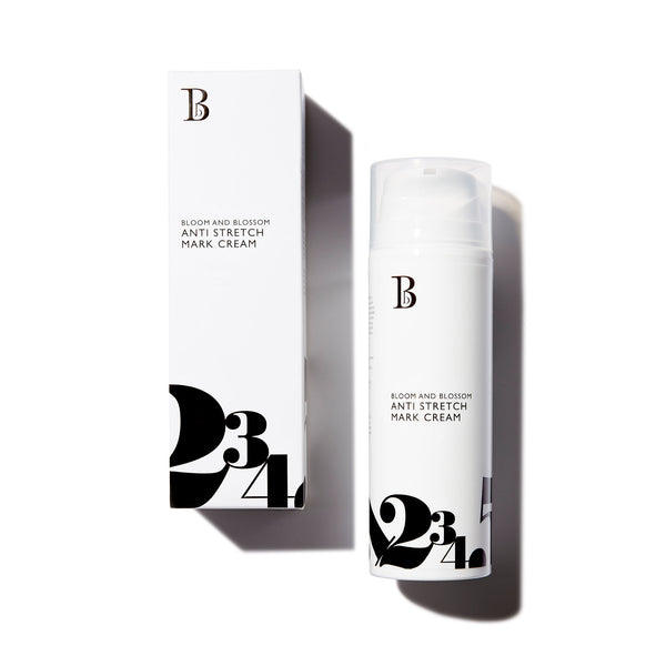 Anti Stretch Mark Cream by Bloom and Blossom - White bottle with pump which comes in cardboard box