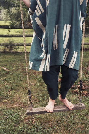 Cocoon shape Caftan - Coded line print in Teal / White