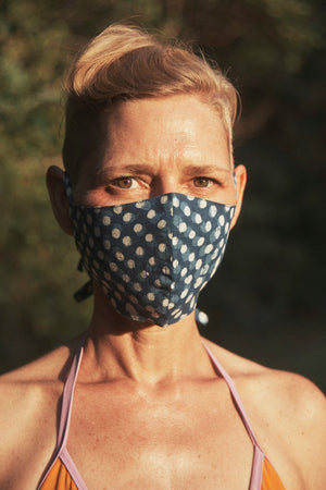 Open image in slideshow, Tie back mask. Indigo dot print