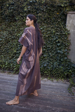 Cocoon shape Caftan - Coded line print in Dk Rose / White