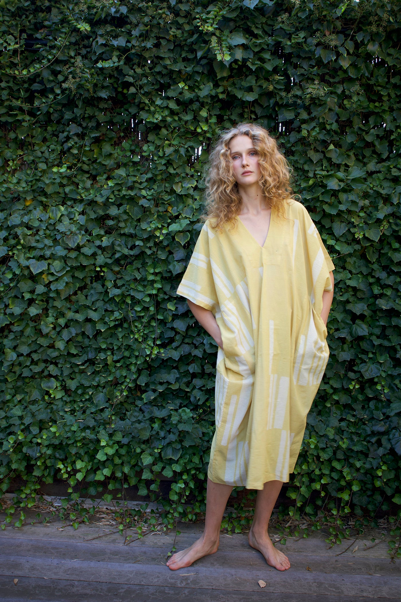 Woman in yellow and white Caftan, Kaftan, Leisurewear, Genderless fashion, Sustainable fashion, Summer dress, Resortwear