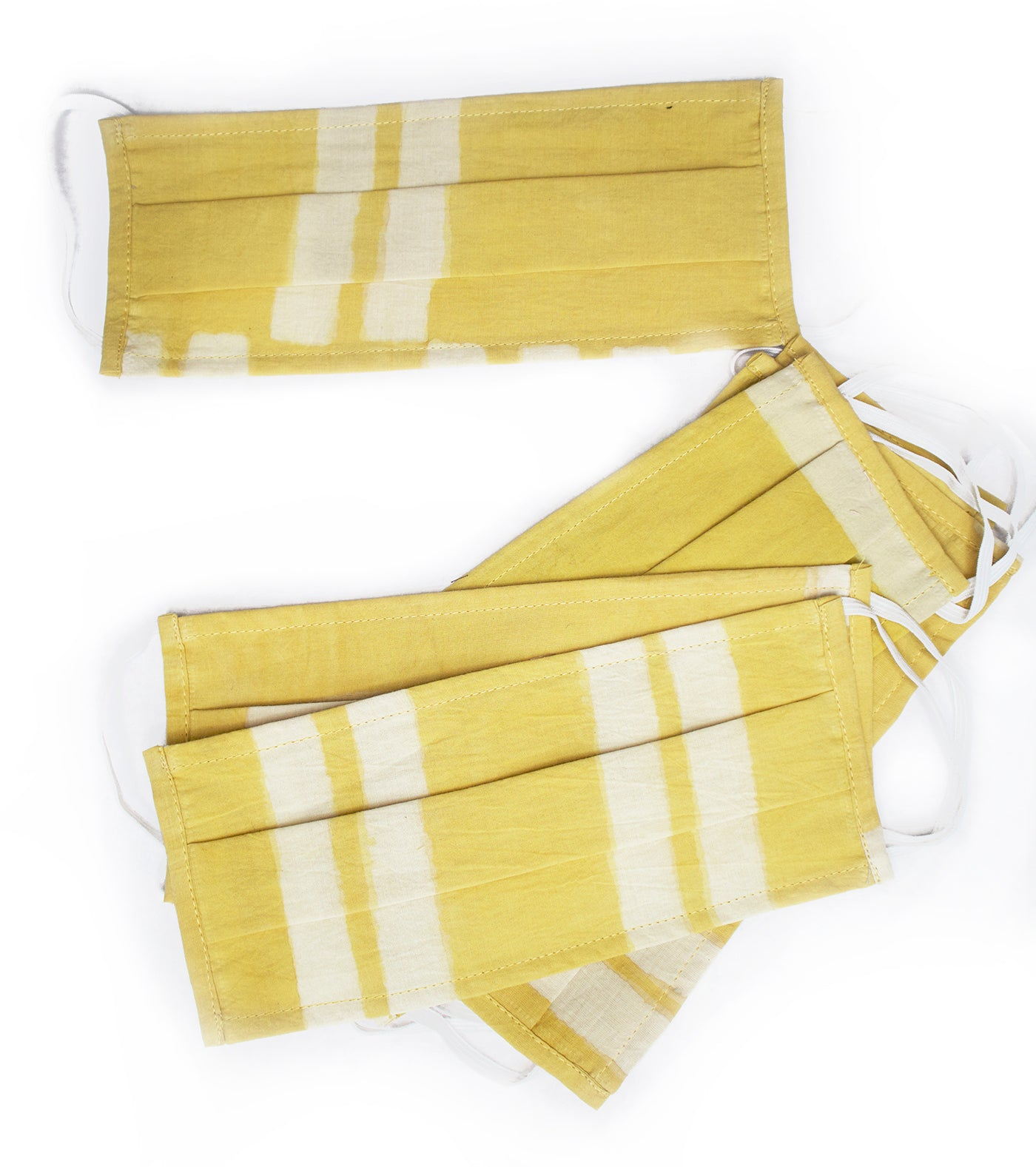 2 Pleat mask. Coded line print Yellow / White