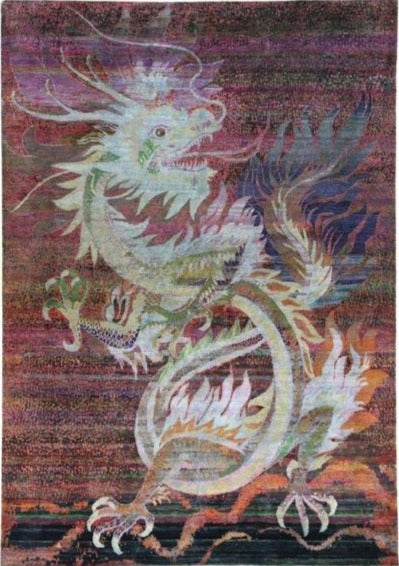 Dragon Rug 8.10x12.6 - Silk on Cotton
