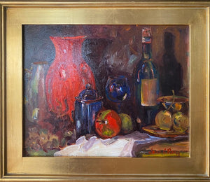 """Still Life With Red Vase"" by Jane Perry   16""x20""  Oil on canvas"