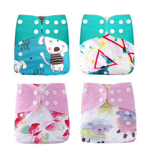 4 Washable Nappies - One Size Only Adjustable