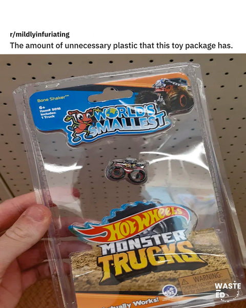 tiny truck in huge plastic package