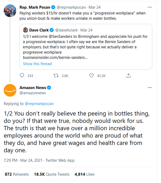 Amazon lies about peeing in bottles
