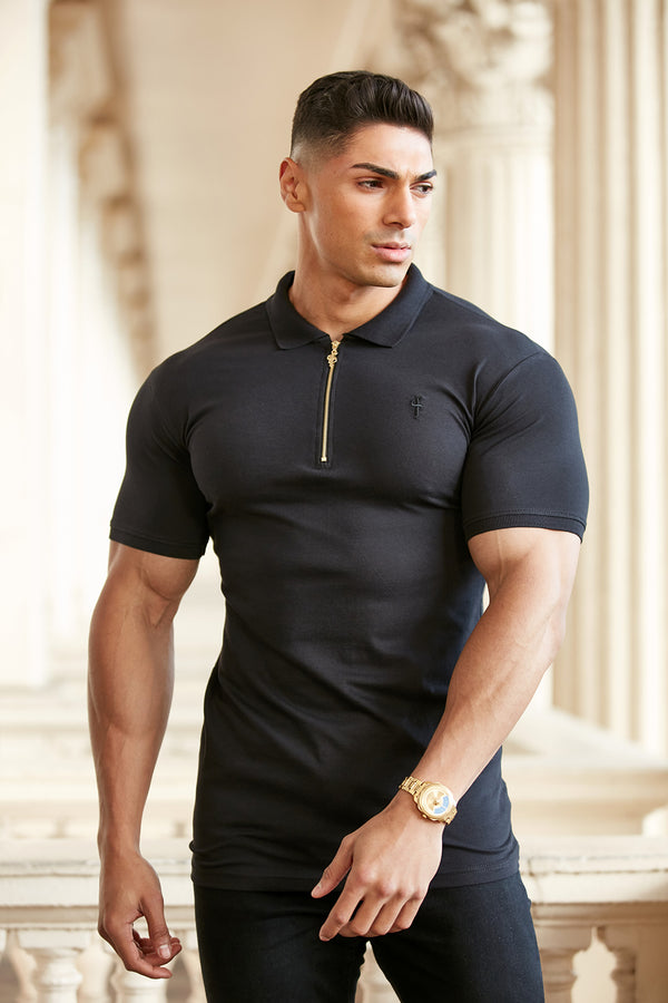 Father Sons Classic Black and Gold Zipped Polo Shirt - FSH239  (PRE ORDER 29TH JANUARY)