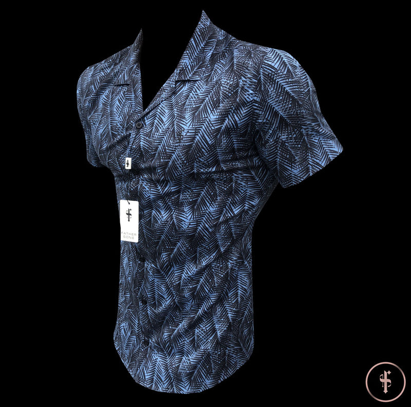Father Sons Super Slim Stretch Revere Blue Palm Print Short Sleeve - FS435