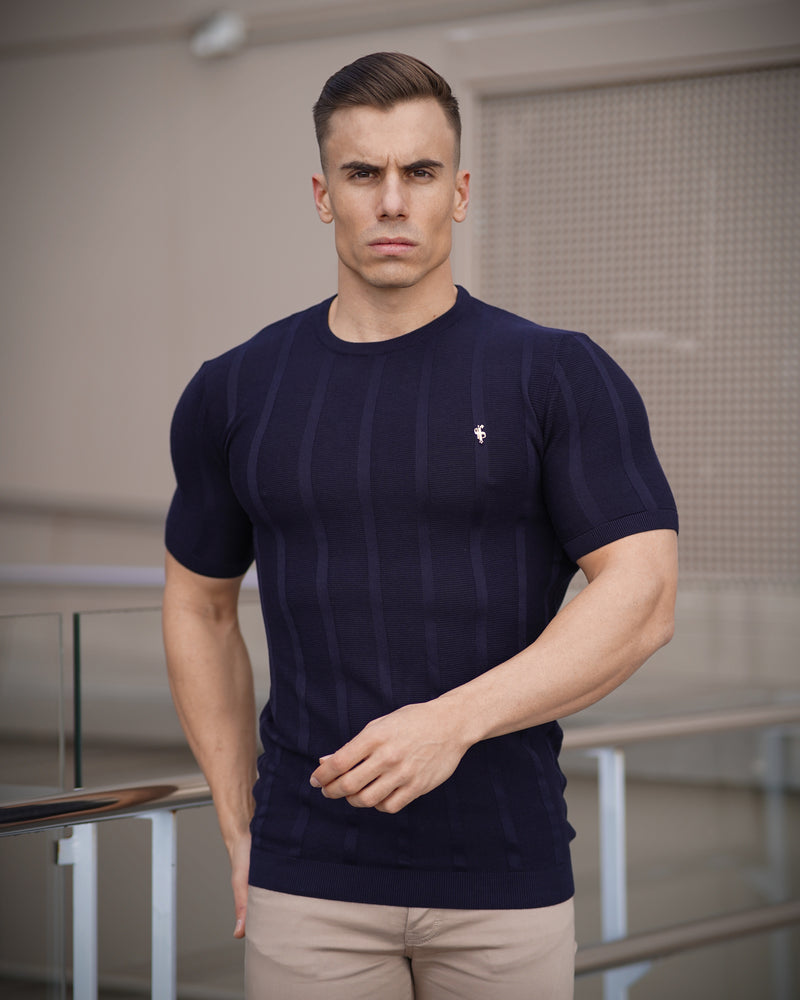 Father Sons Classic Short Sleeve Navy Knitted Wide Rib Crew with Gold Emblem - FSH562