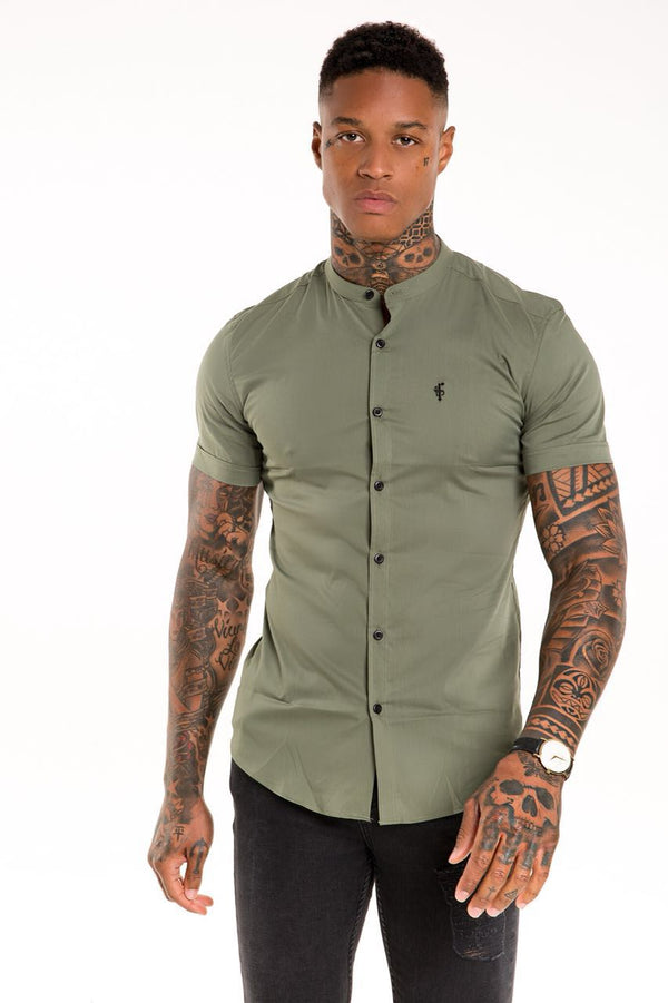 Father Sons Super Slim Stretch Classic Khaki Grandad Collar Short Sleeve - FS291