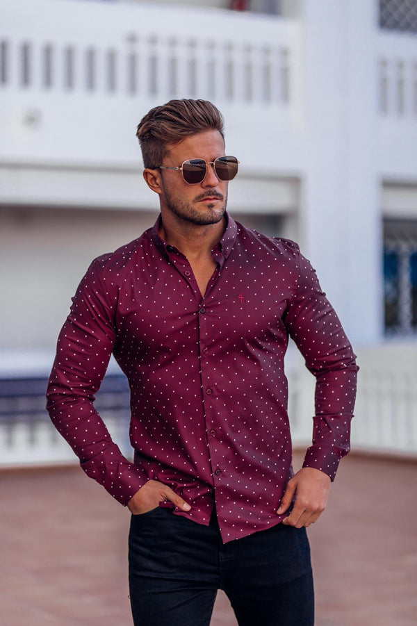 Father Sons Super Slim Stretch Burgundy & White Circular Print Long Sleeve - FS664