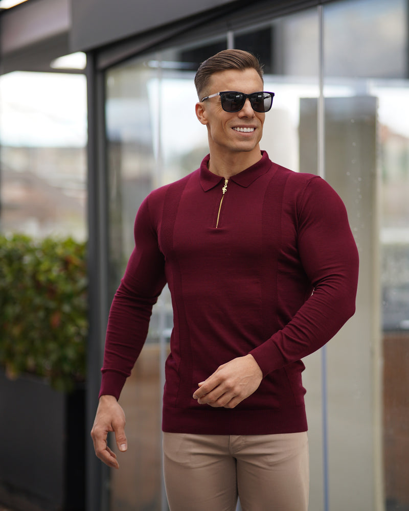 Father Sons Classic Burgundy and Gold Zip Knitted Long Sleeve Polo Shirt - FSH566