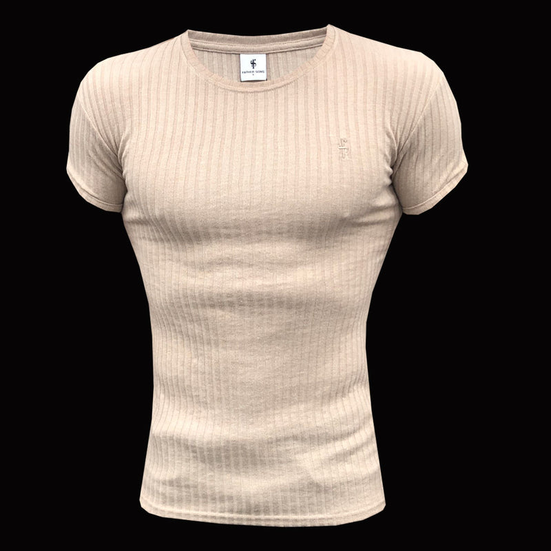 Father Sons Classic Beige Ribbed Knit Short Sleeve Super Slim Long Line Crew - FSH295
