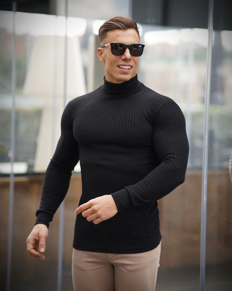 Father Sons Classic Black Ribbed Knit Roll-neck Jumper - FSH591
