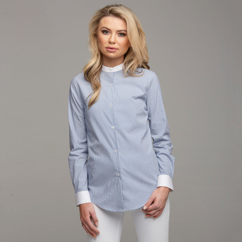 BLAIR STRIPE CONTRAST COLLAR STAND SHIRT - CT030