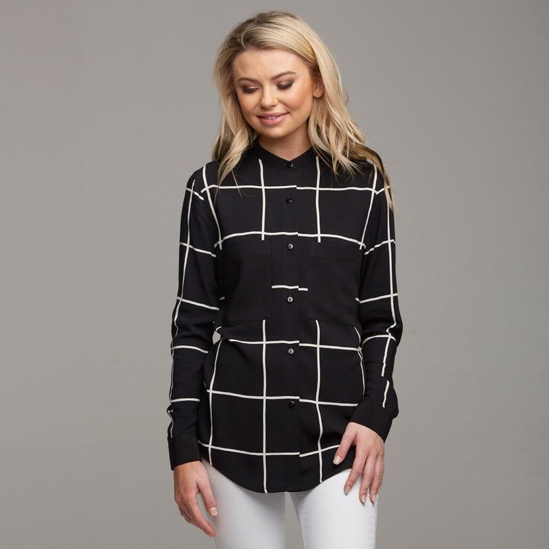 BROOKE GRID COLLAR STAND SHIRT - CT031